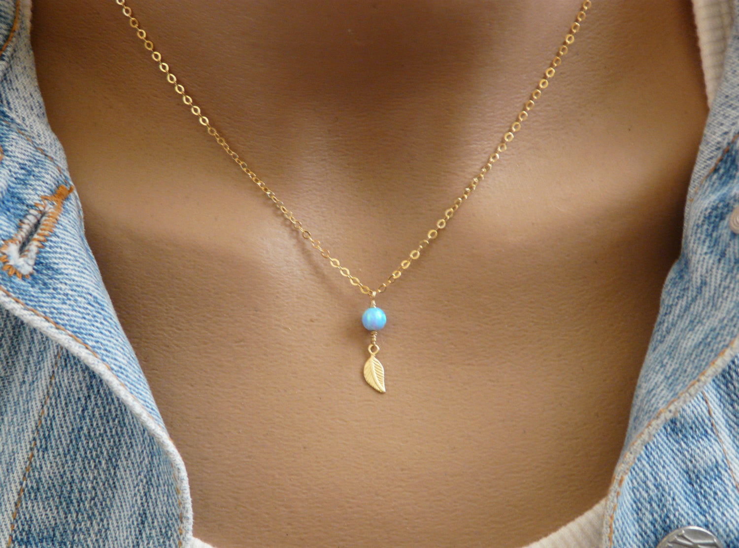 Leaf opal necklace - OpaLandJewelry