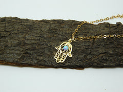 Gold Hamsa necklace with Opal - OpaLandJewelry