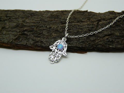 Sterling silver Hamsa Evil eye necklace - OpaLandJewelry