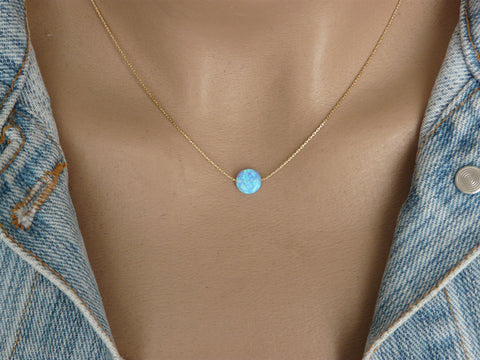 Tiny Opal coin necklace - OpaLandJewelry