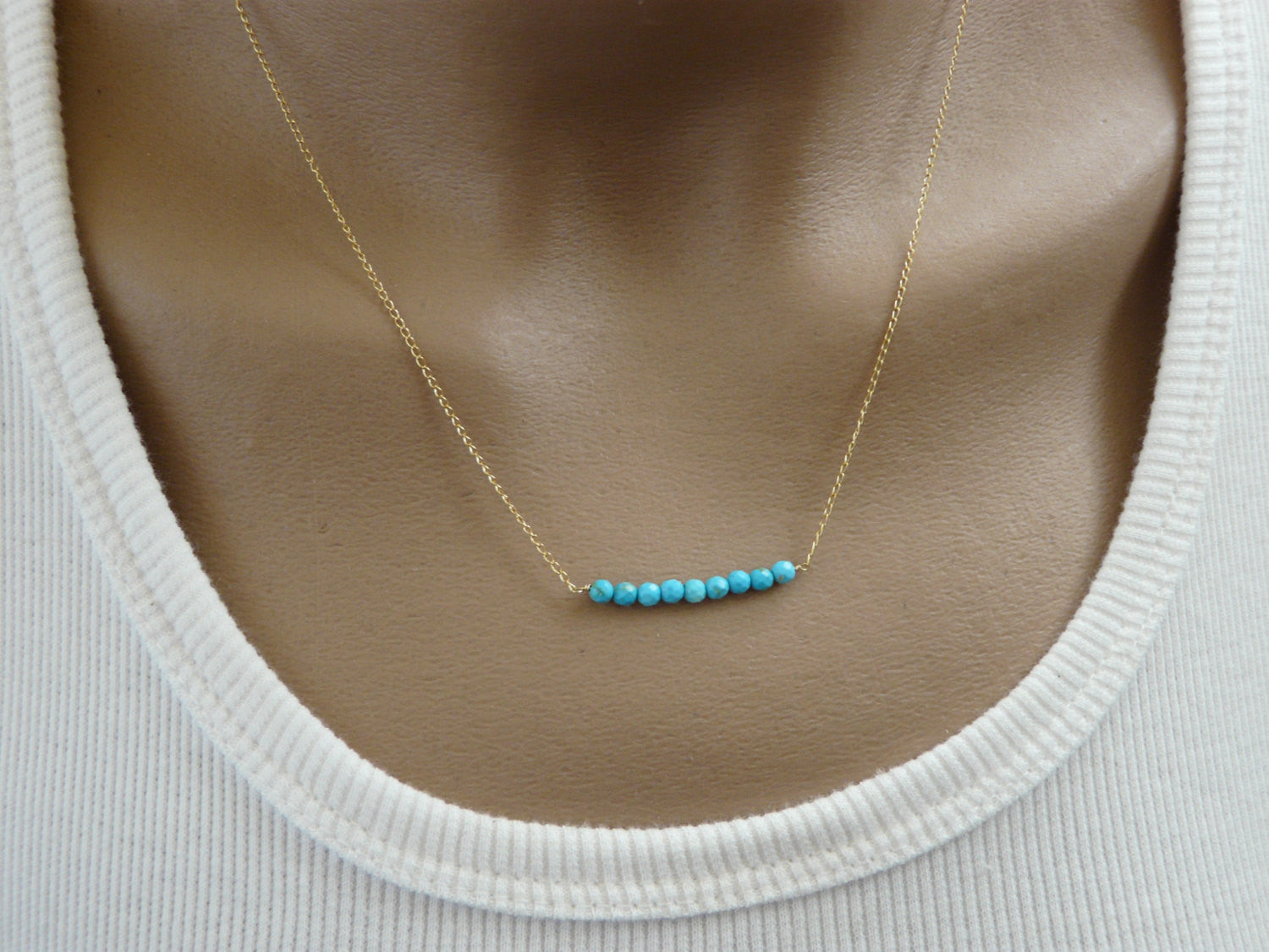 Turquoise bar necklace - OpaLandJewelry