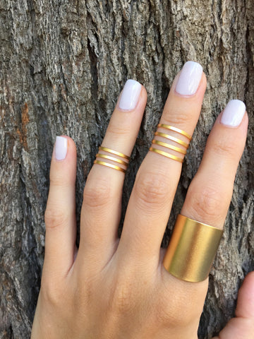 Set of Matte Gold rings - OpaLandJewelry