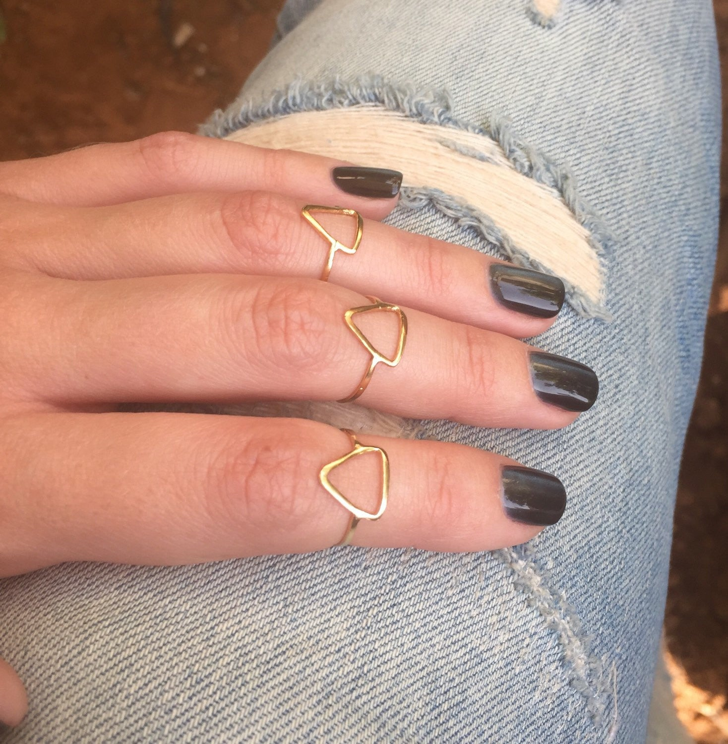 Triangle knuckle ring - OpaLandJewelry