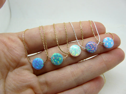 Opal coin necklace - OpaLandJewelry