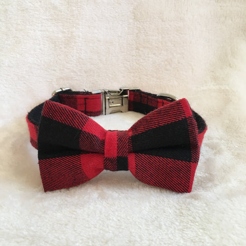 LWD handmade bowtie collar - Plaid in red