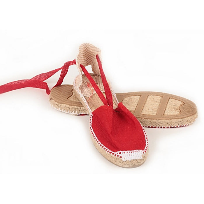 Red Lace Up Espadrilles