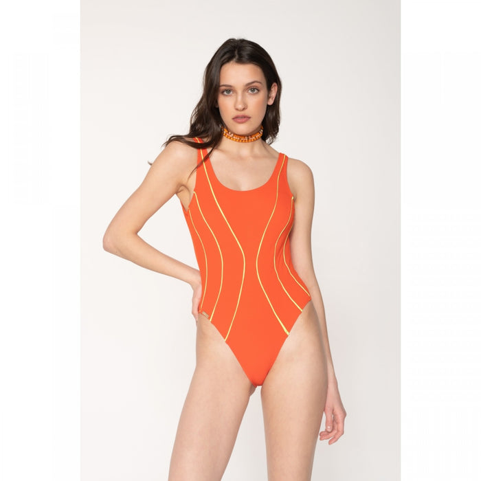 Jane Orange Neon Green Swimsuit