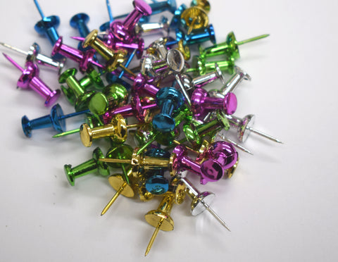 Mixed Metallic Push Pins pack of 50