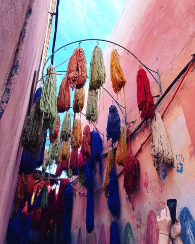 Wool hanging in the dyers souk in Marrakech