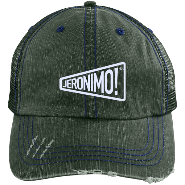 Jeronimo Distressed Embroidered Unstructured Trucker Cap