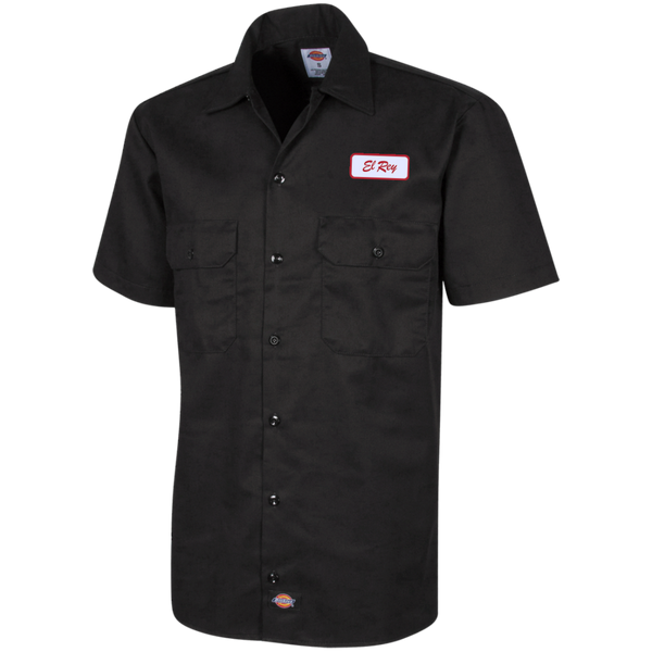 El Rey Red Embroidered Dickies Men's Short Sleeve Workshirt