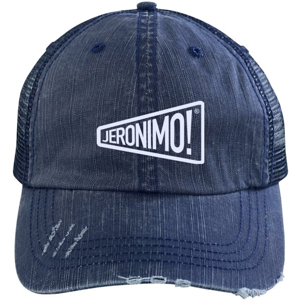 Jeronimo Distressed Unstructured Trucker Cap