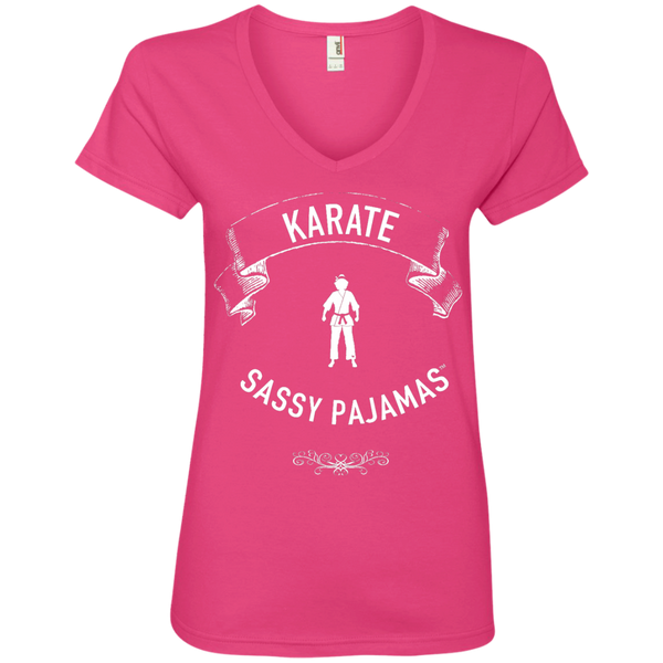 Karate - Sassy Pajamas / Women's V-Neck Tee (Light lettering)