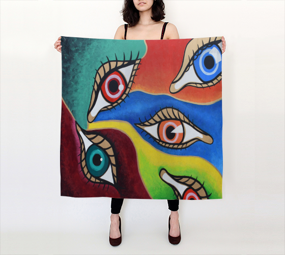 """All Eyes On Me"" Big Square Scarf"