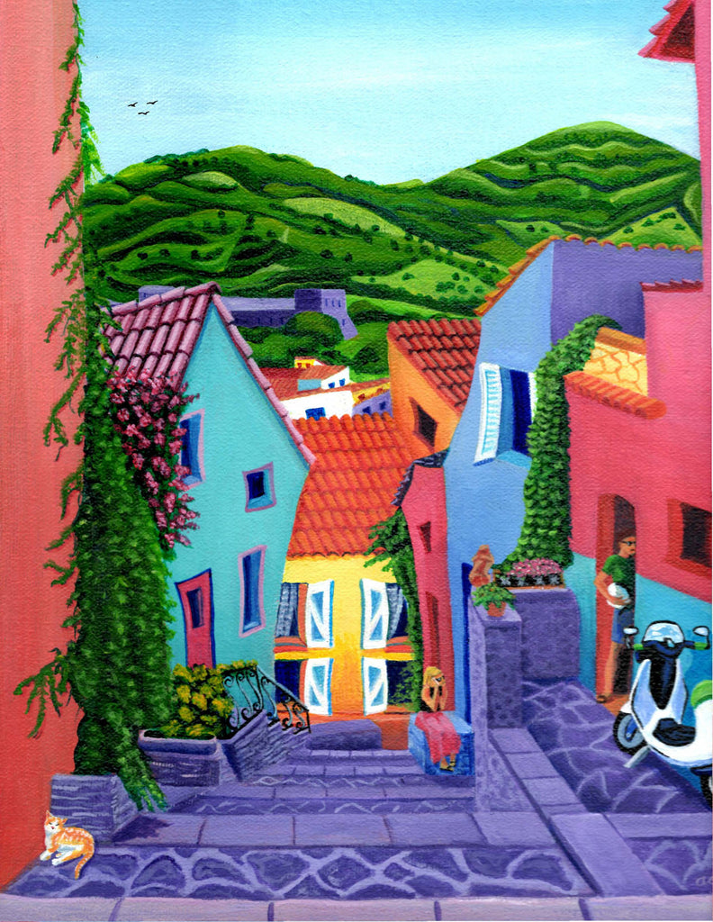 "ORIGINAL SOLD ""Corner of Collioure"" Original Acrylic-On-Canvas by Annette Gaffney"