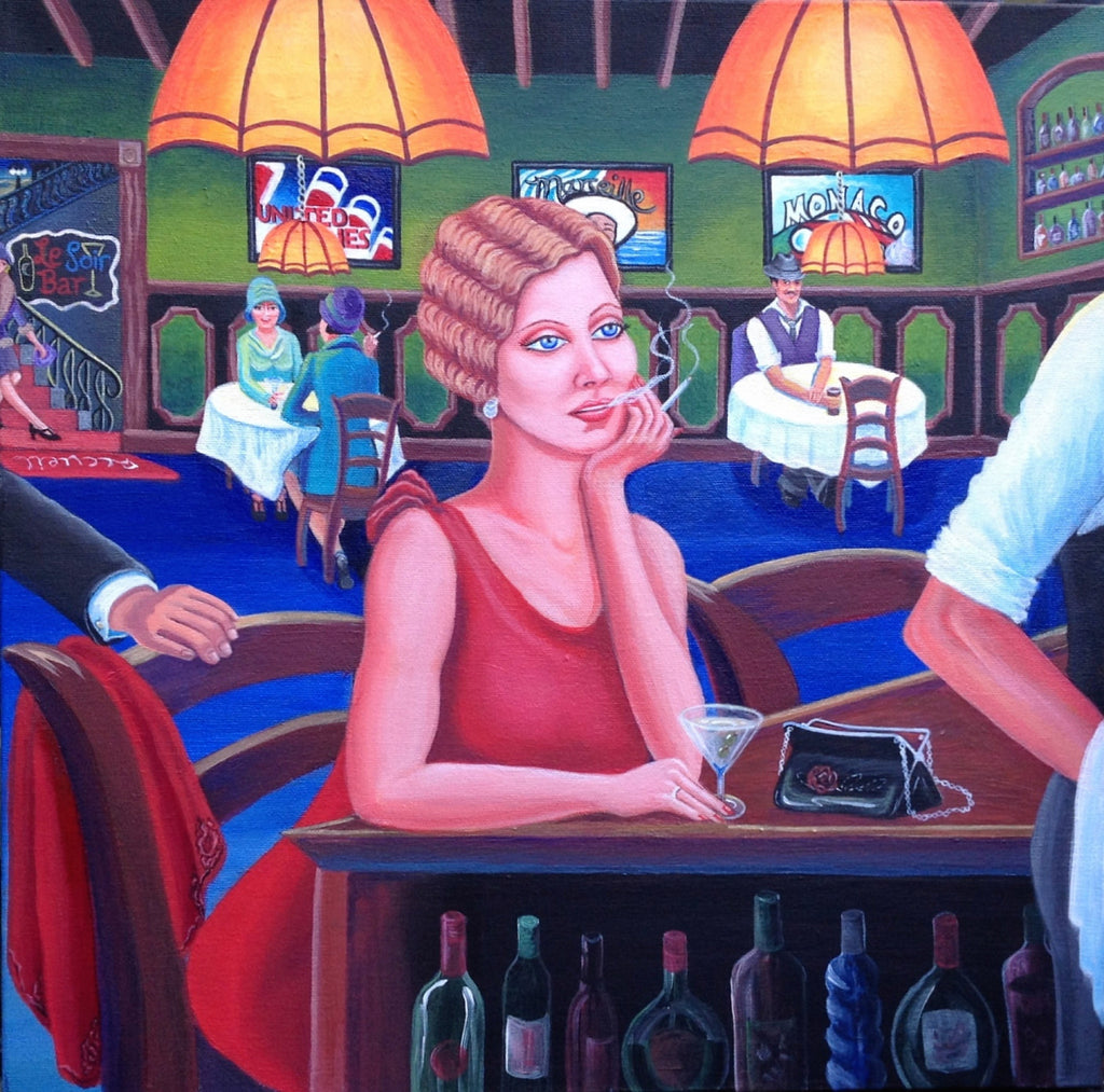 """Le Soir Bar"" Original Acrylic-on-Canvas Painting"
