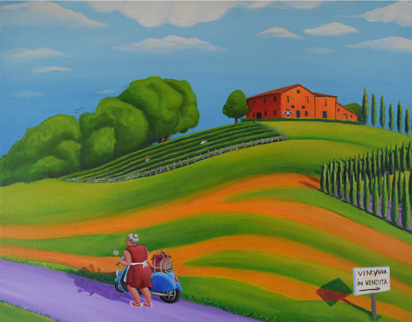 """Vino In Vendita"" (Wine For Sale) Original Acrylic-On-Canvas Painting"