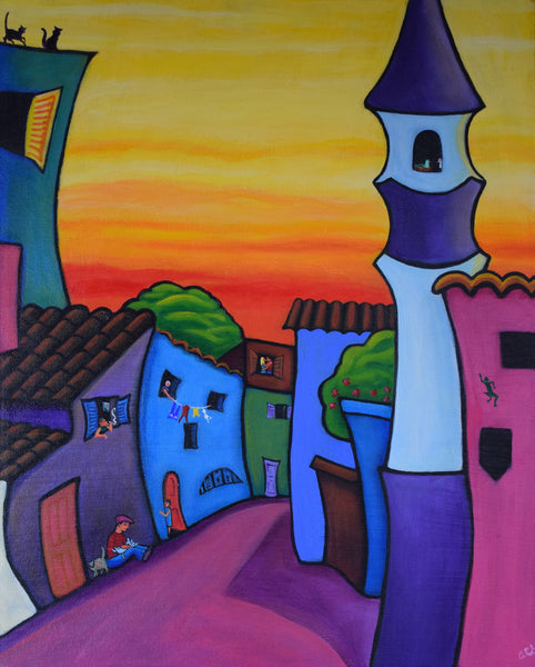 """Lane In Languedoc"" Original acrylic-on-canvas painting"