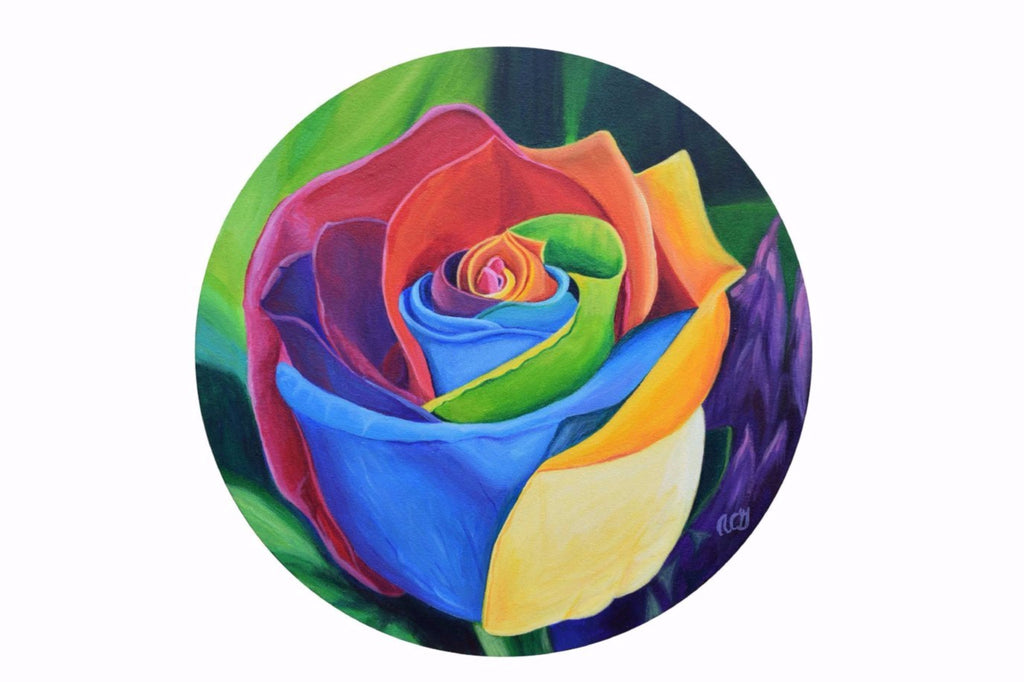Rainbow Rose Original Acrylic On Stretched Round Canvas Painting