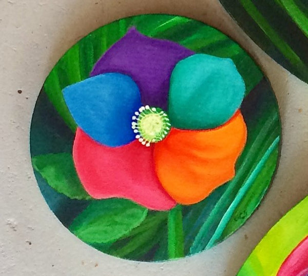 Rainbow Pansy Original Acrylic On Stretched Round Canvas Painting