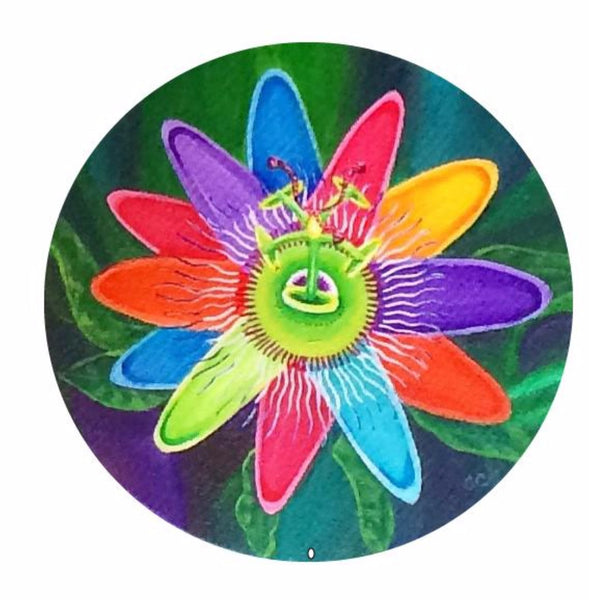 Rainbow Passion Flower Original on Round Stretched Canvas Painting
