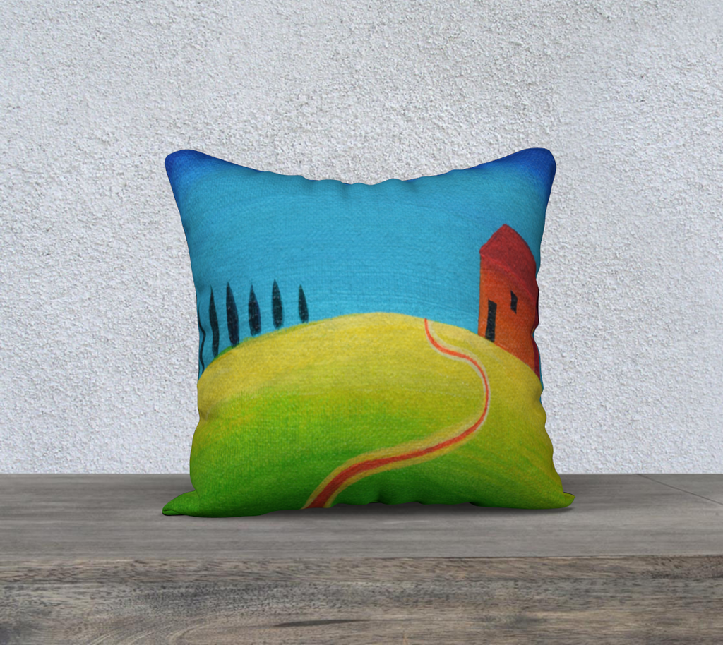 Tiny Tuscan Green Blue Throw Cushion Cover