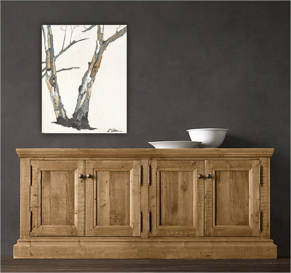 Modern artwork rustic decor birch trees - #1 in a set of 4 - affordable