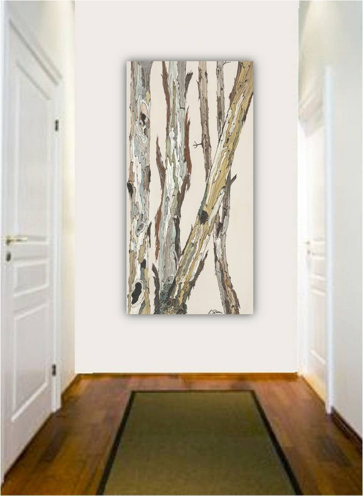 Long oversized wall art canvas print white rustic modern pastels tree art office decor
