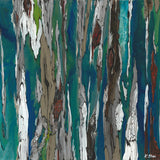 Extra LARGE abstract blue teal canvas print landscape artwork trees modern decor