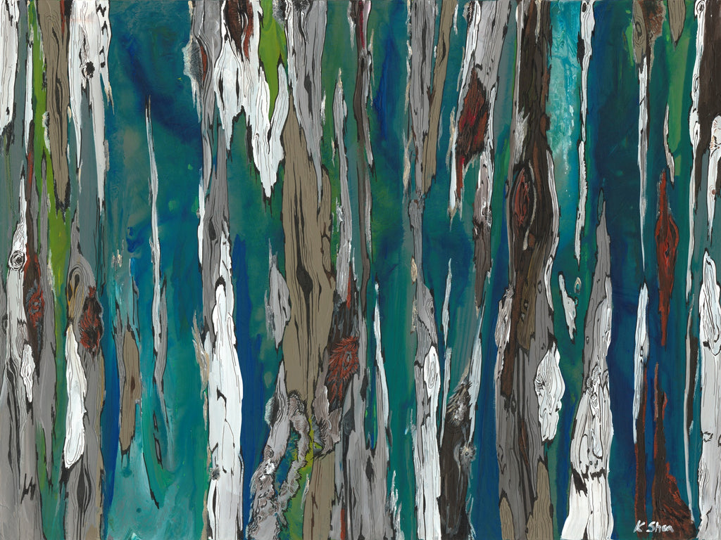 ORIGINAL extra large abstract painting of trees landscape artwork modern blue wall art