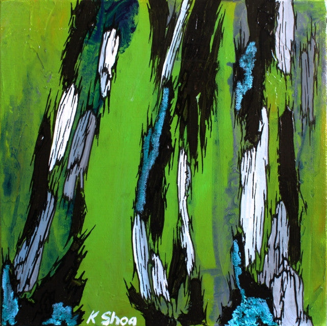 mint green artwork, abstract green painting, green paintings, abstract tree art, abstract tree trunk painting, gift for him, gift for men, masculine artwork, masculine decor, masculine wall art, bedroom wall art, masculine office decor, blue green painting, small original painting, set of 3 paintings, triptych, dining room decor, dining room wall art, shoa gallery, living room wall art