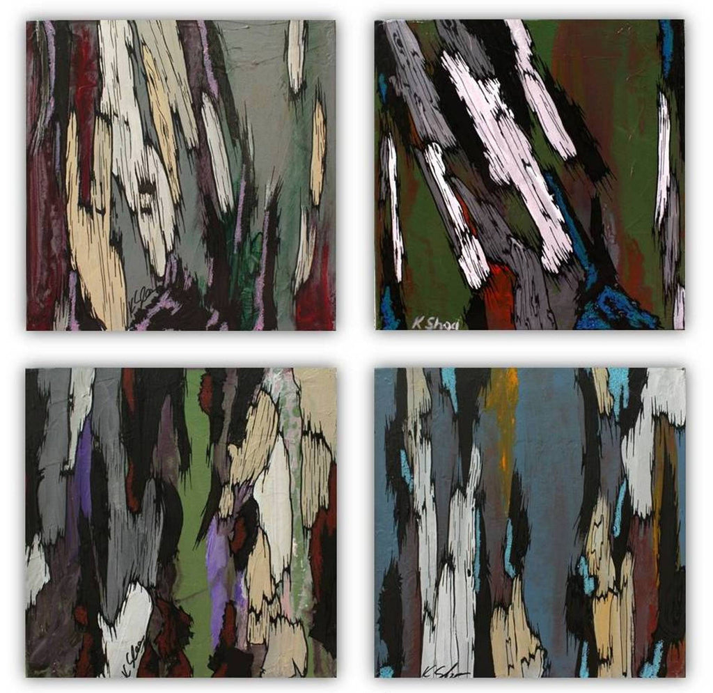 original painting of trees, abstract tree art, set of 4, masculine artwork for office, masculine office decor, masculine bathroom decor ideas, gift for him, gift for men, gift for client, gift for husband, masculine bedroom decor, masculine wall art ideas, gray blue wall art, original oil wall art