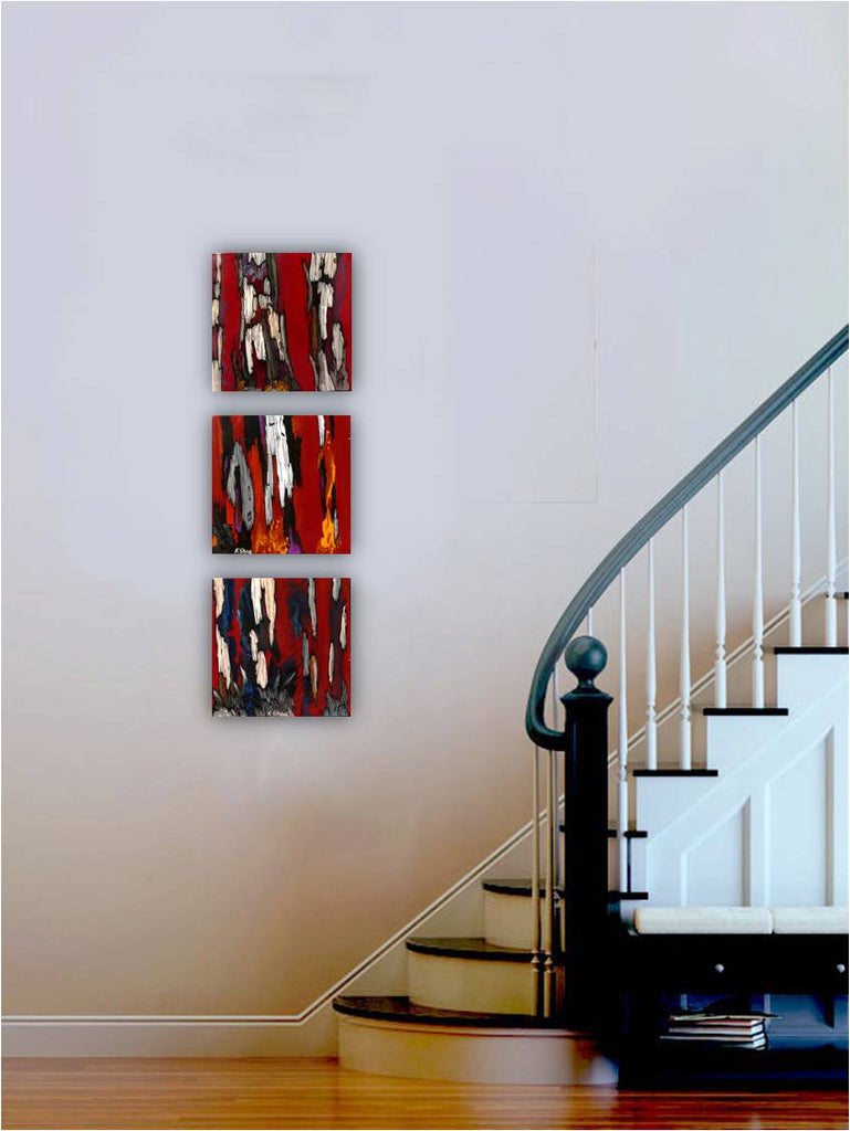 ORIGINAL small red set of 3 paintings wall art modern abstract artwork
