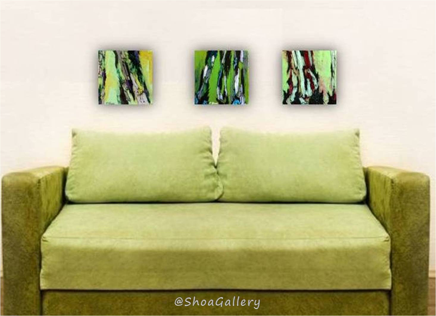 Green wood wall art set tree artwork holiday GIFT triptych – Shoa ...