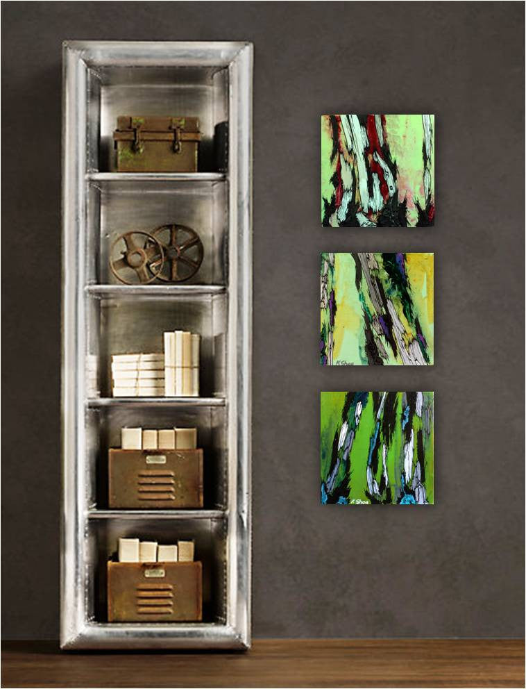 Green wood wall art set tree artwork holiday GIFT triptych