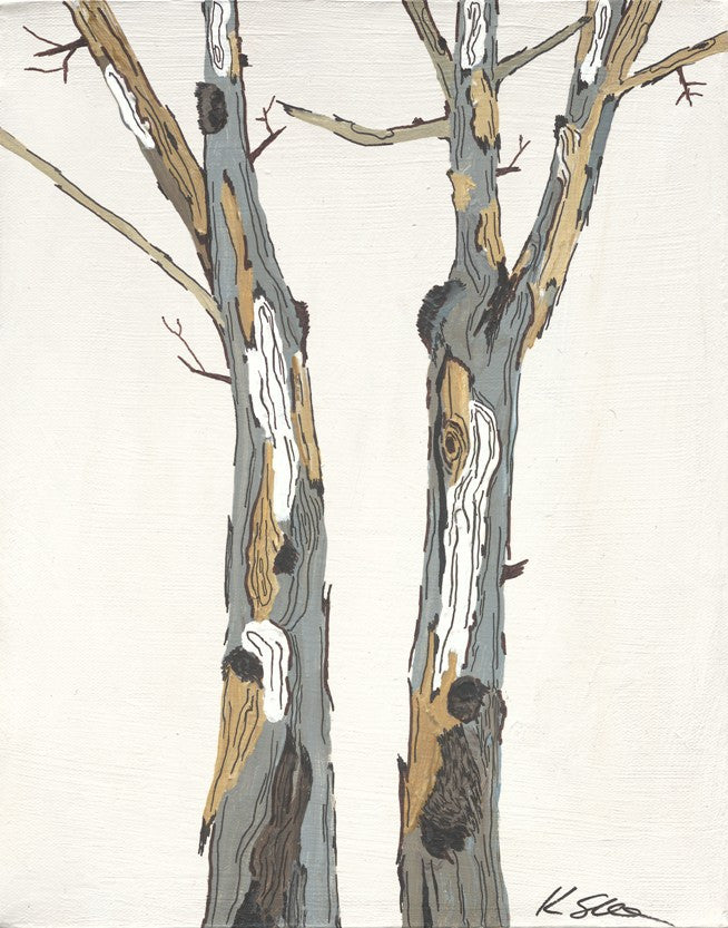 Birch white tree wall art on canvas - #2 in a set of 4 - giclee artwork print