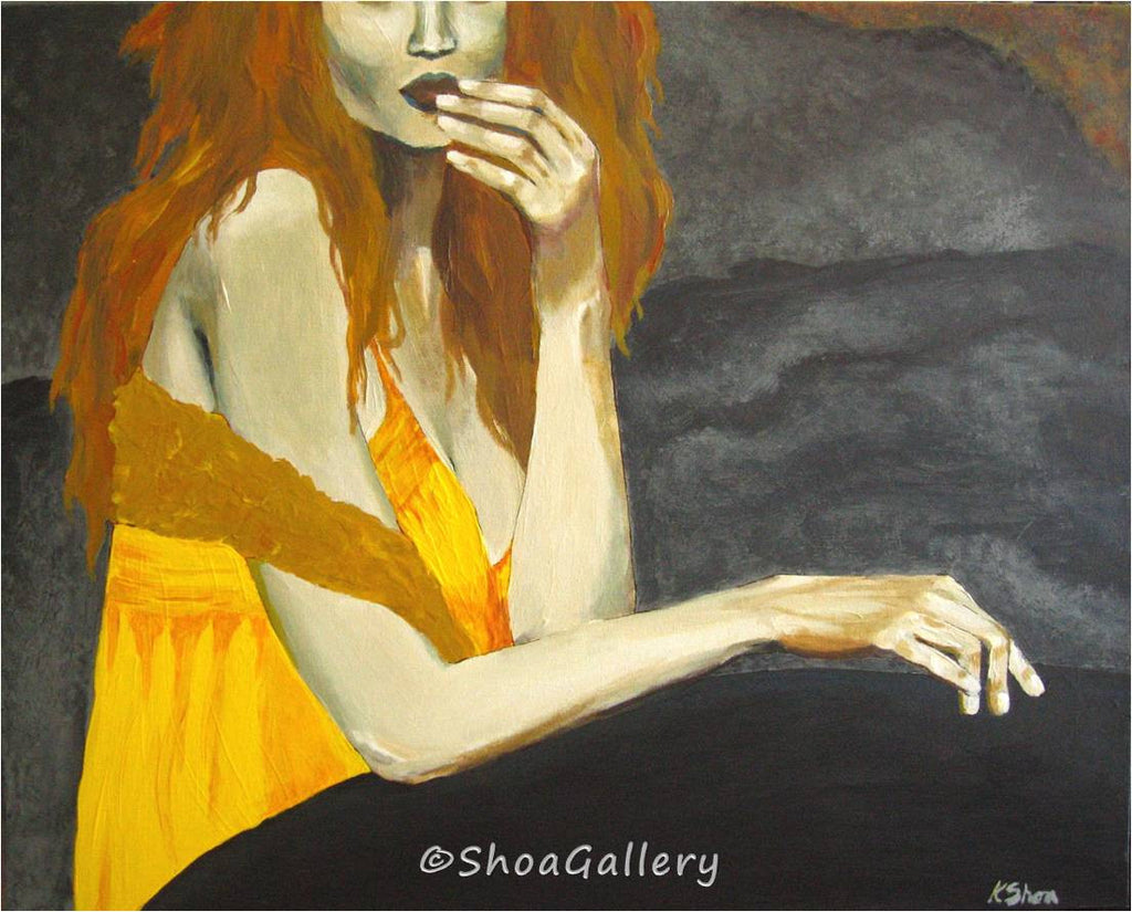 ORIGINAL figurative painting sexy readhead orange yellow artwork canvas wall art bedroom