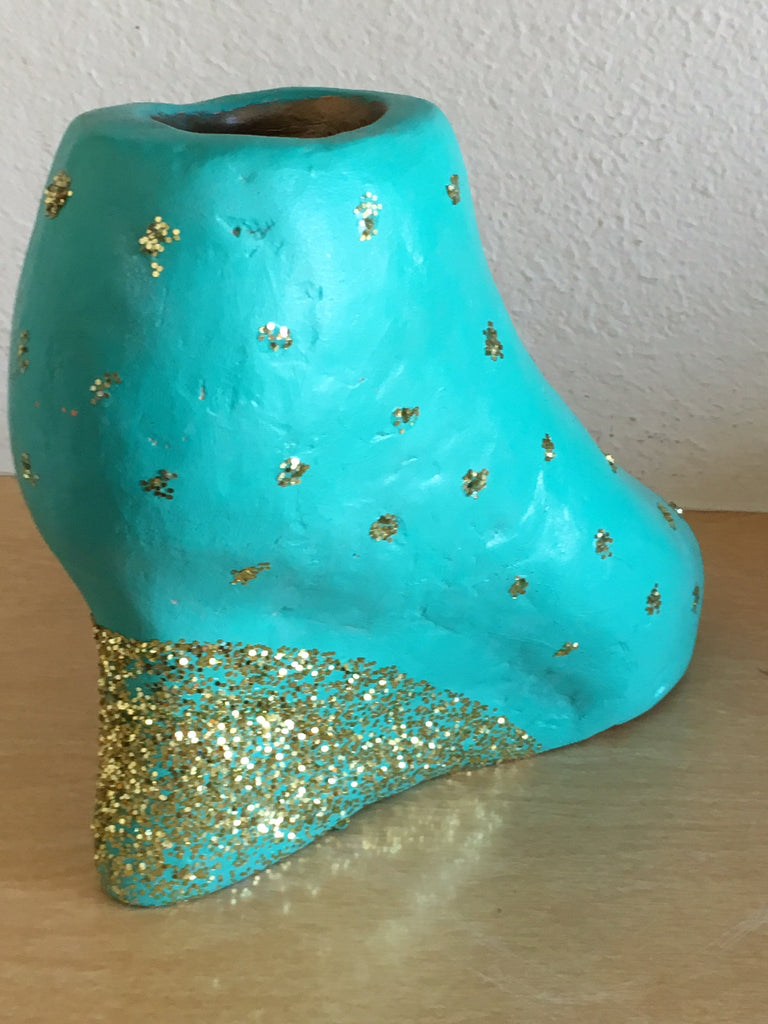 Shoe Sculpture Women Clay Statue Art Blue Turquoise Handmade Artwork GIFT