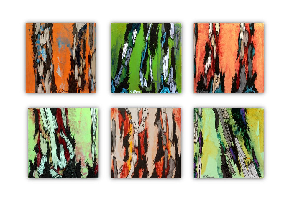 ORIGINAL small orange painting wall art tree trunks modern rustic abstract artwork