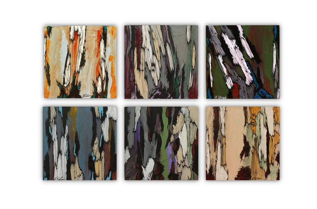 ORIGINAL small gray painting of tree trunks masculine wall art artwork abstract office decor