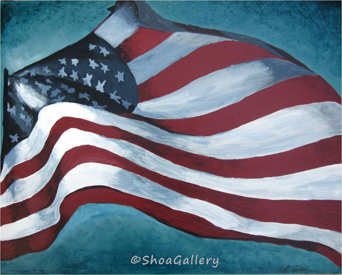 ORIGINAL painting American Flag wall art patriotic veteran VA masculine decor modern artwork