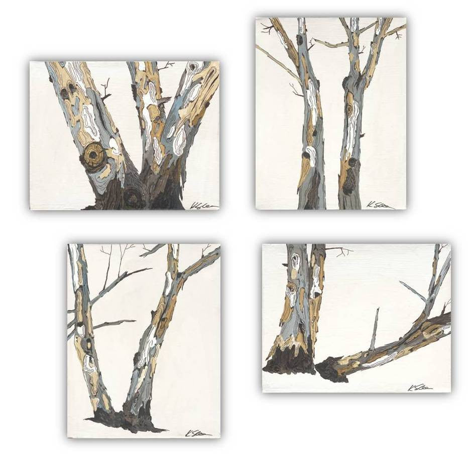 FEATURED: white wall art set tree trunks artwork large wall decor - featured on recipe girl