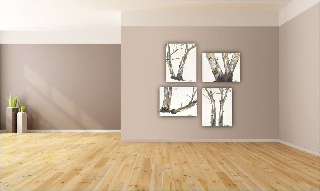 White artwork of tree trunks canvas print 22x28 soft pastels eucalyptus trees #3 of 4