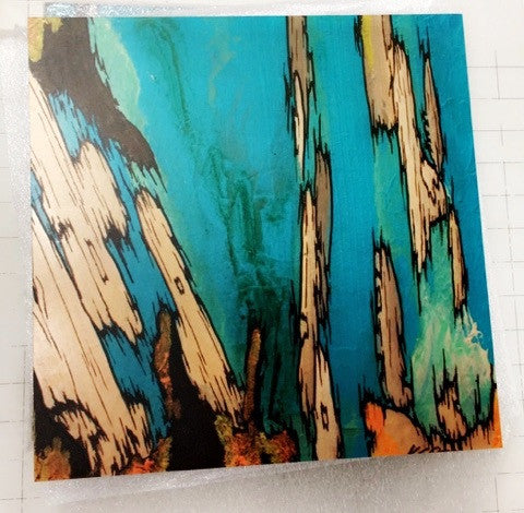 Turquoise blue wood wall art set tree artwork holiday GIFT