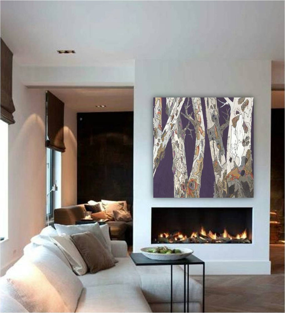 Extra large purple wall art square artwork canvas print oversized landscape birch trees