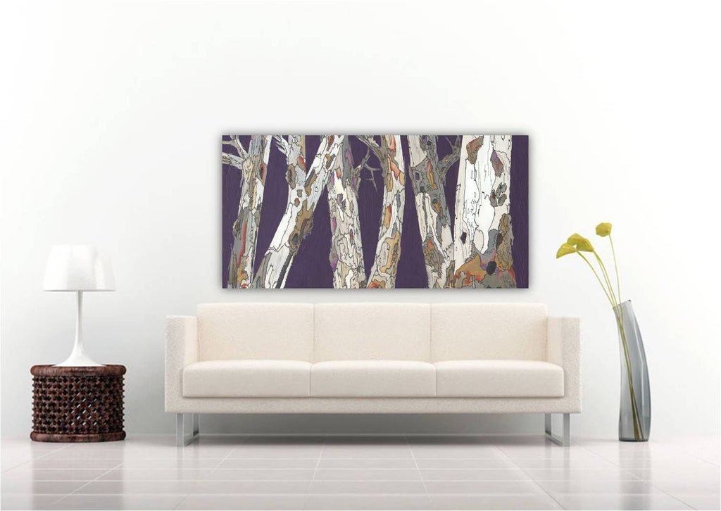 Long extra large purple wall art print huge canvas birch tree art landscape artwork