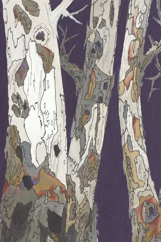 Birch trees extra large wall art purple modern canvas giclee print tree art office home decor