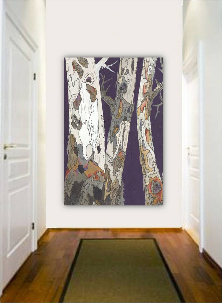 Extra large purple wall art; large vertical wall art print; oversized long purple wall art; large entryway framed artwork; large wall art purple white; vertical tree wall art; vertical painting of trees; framed purple artwork; purple decor for office; purple bedroom decor; purple living room decor; purple dining room decor; colorful living room decoration