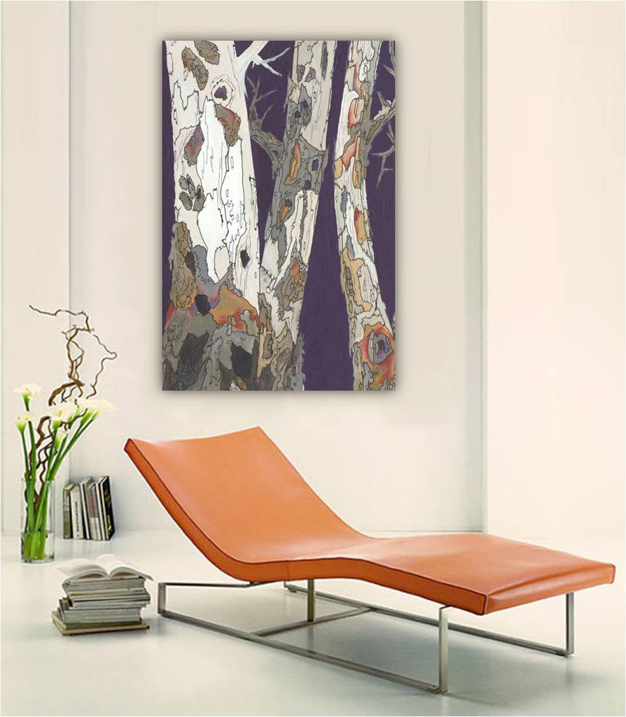 vertical wall art for entryway; masculine wall art; large canvas wall art; large tree art print; large tree trunks wall art; vertical tree art; large purple tree art; extra large vertical artwork; large bedroom wall art; large living room wall decor; interior decorating with artwork; interior decor for living room; long artwork for interior decorating; colorful artwork for interior decorating