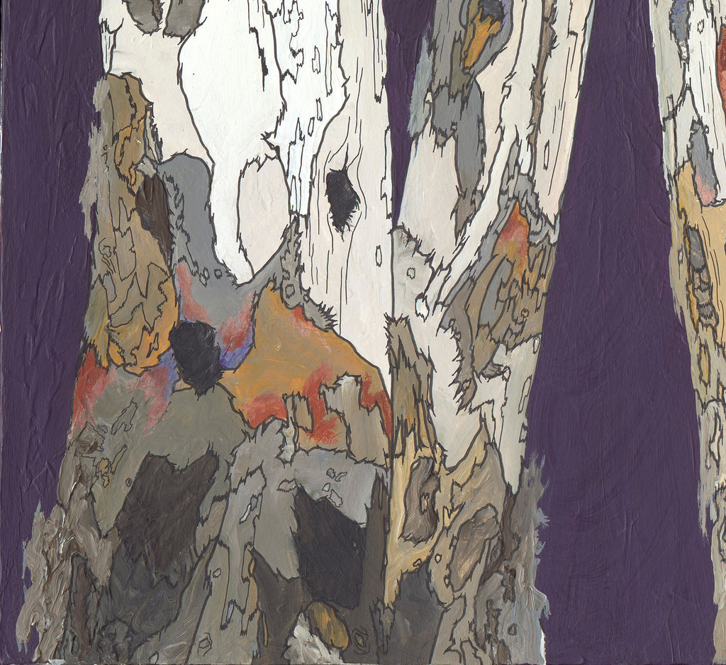 Large artwork ORIGINAL masculine wall art purple white landscape painting modern birch trees